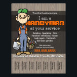 """Handy Man.Carpenter.Plumber.Painter.Yard Work Flyer<br><div class=""""desc"""">Super unique and eye catching flyer to help you find work as a handysman, carpenter, framer, deck builder, fix-it guy. This friendly, simple drawing of a happy worker with a big smile and hands full of paint and tools is sure to catch peoples&#39; eyes and charm them into calling you!...</div>"""