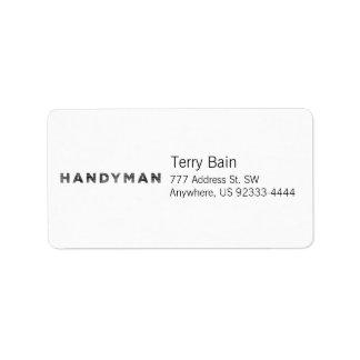 Handyman [Black Letterpress Style] Address Label