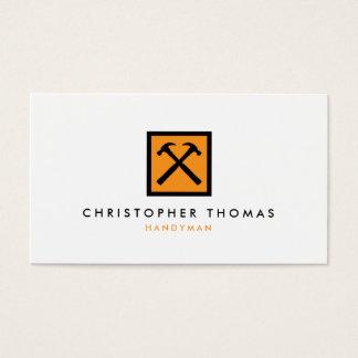 Handyman, Carpenter, Builder Orange Hammer Logo Business Card