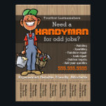 """Handyman.Carpenter.Plumber Painter.Afro American Flyer<br><div class=""""desc"""">Super unique and eye catching flyer to help you find work as a handysman, carpenter, framer, deck builder, fix-it guy. This friendly, simple drawing of a happy Afro American working man with a big smile and hands full of paint and tools is sure to catch peoples&#39; eyes and charm them...</div>"""