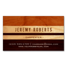 Handyman Carpenter Remodeling Stylish Wood Stripes Magnetic Business Card at Zazzle