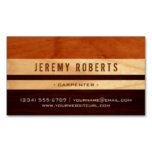 Handyman business cards zazzle handyman carpenter remodeling stylish wood stripes magnetic business card wajeb Gallery
