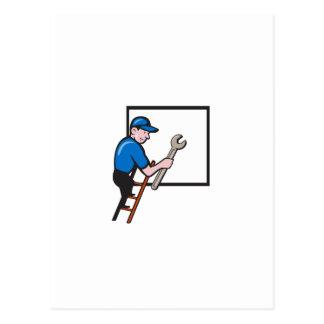 Handyman Climbing Ladder Window Cartoon Postcard