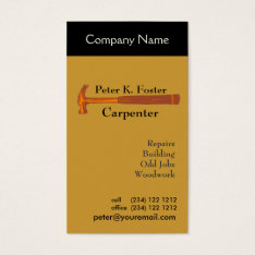 Handyman Construction Business Card at Zazzle