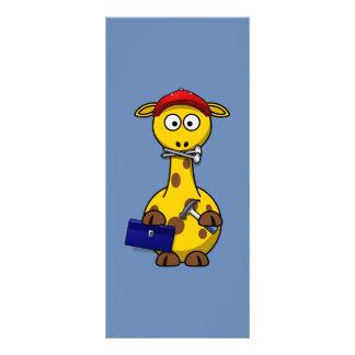 Handyman Giraffe Blue Background Customized Rack Card