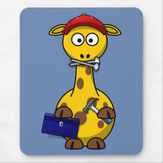 Handyman Giraffe Blue Background Mouse Pad