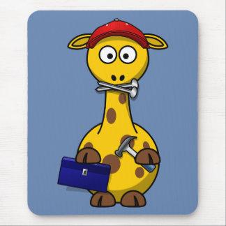 Handyman Giraffe Blue Background Mousepad
