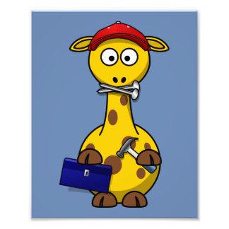 Handyman Giraffe Blue Background Photograph