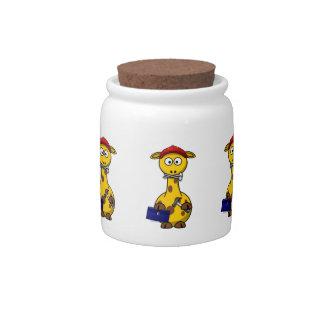 Handyman Giraffe Toon Art Candy Jar