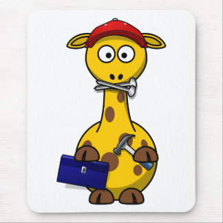 Handyman Giraffe Toon Art Mouse Pads