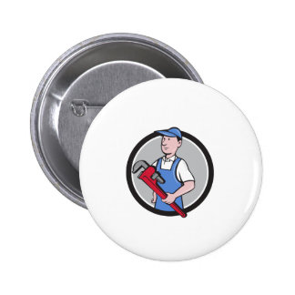 Handyman Holding Pipe Wrench Circle Cartoon Button