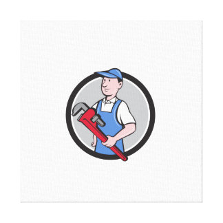 Handyman Holding Pipe Wrench Circle Cartoon Canvas Print