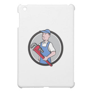 Handyman Holding Pipe Wrench Circle Cartoon Case For The iPad Mini