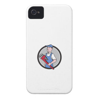 Handyman Holding Pipe Wrench Circle Cartoon iPhone 4 Case