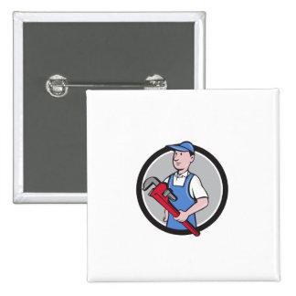Handyman Holding Pipe Wrench Circle Cartoon Pinback Button