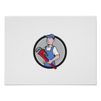 Handyman Holding Pipe Wrench Circle Cartoon Poster