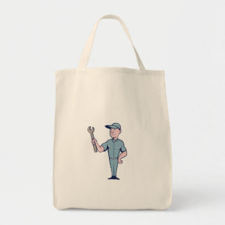 Handyman Holding Spanner Cartoon Tote Bag