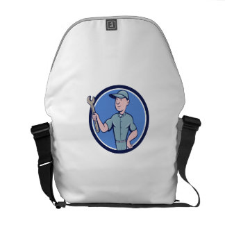 Handyman Holding Spanner Circle Cartoon Messenger Bag