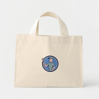 Handyman Holding Spanner Circle Cartoon Mini Tote Bag