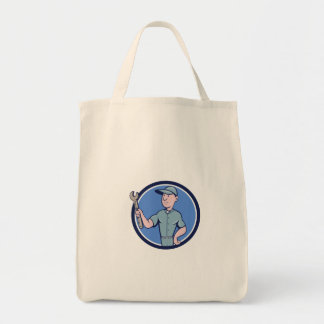 Handyman Holding Spanner Circle Cartoon Tote Bag