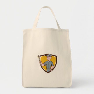 Handyman Holding Spanner Crest Cartoon Tote Bag