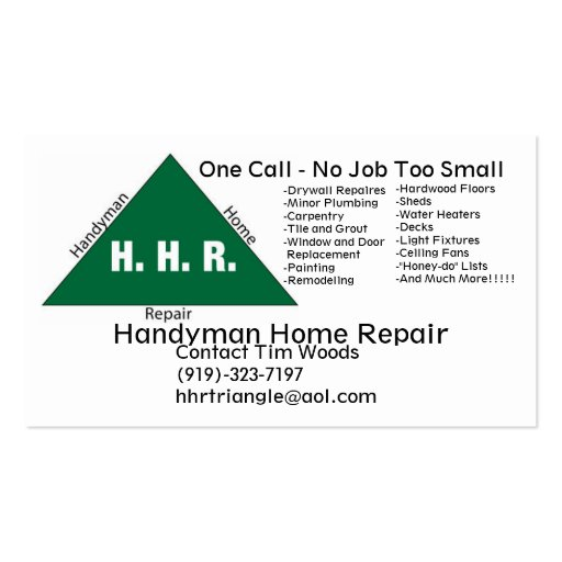 Handyman_logo, Handyman Home Repair, One Call -... Double-Sided Standard Business Cards (Pack Of 100)