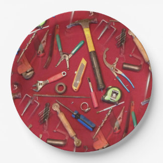 Handyman maintenance and contractor hand tools paper plate