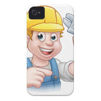 Handyman Mechanic or Plumber with Spanner iPhone 4 Cover
