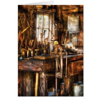 Handyman - Messy Workbench Greeting Card