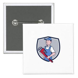 Handyman Pipe Wrench Crest Cartoon Button