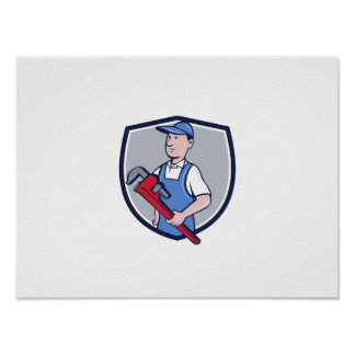 Handyman Pipe Wrench Crest Cartoon Poster
