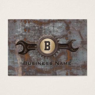 Handyman Repair Gear Monogram Vintage Rusty Metal Business Card