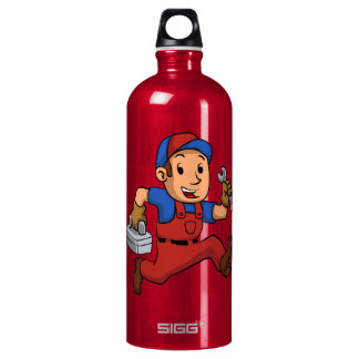 handyman Running With A Toolbox Aluminum Water Bottle