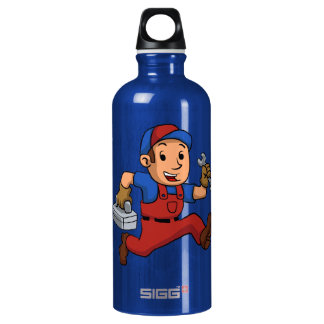 handyman Running With A Toolbox Water Bottle