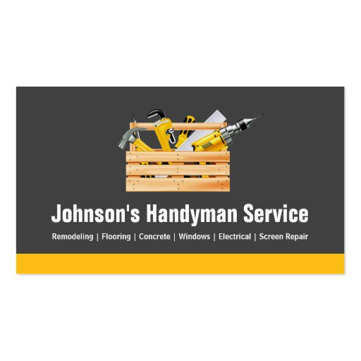 Handyman Service Company - Equipment Toolbox Business Card Templates