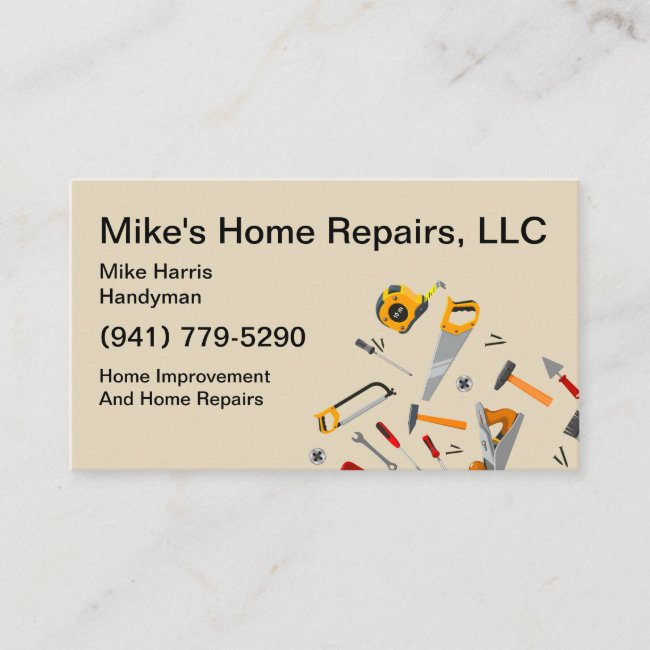 Handyman Services Tools Design Business Card