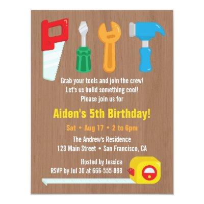 Colorful handyman tools birthday party invitations zazzle filmwisefo