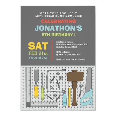 Construction tools birthday party invitation zazzle filmwisefo