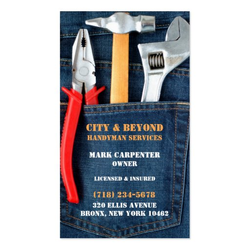 Handyman tools business card zazzle for Where can i use my synchrony home design card