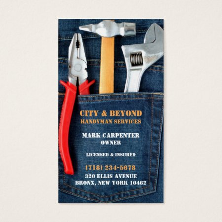 Adjustable Spanner Wrench, Hammer and Pliers, Workman Tools in Jeans Pocket Handyman Business Cards Template