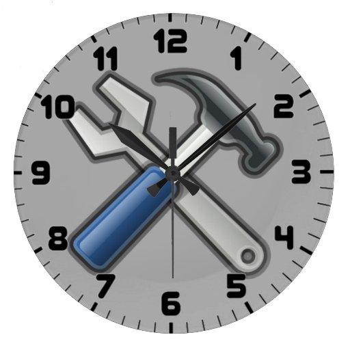 Handyman Tools Hammer and Wrench Wall Clock