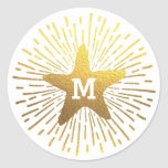 Hang a Shining Star Christmas Monogram Classic Round Sticker