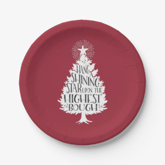 Hang a Shining Star Red Christmas 7 Inch Paper Plate