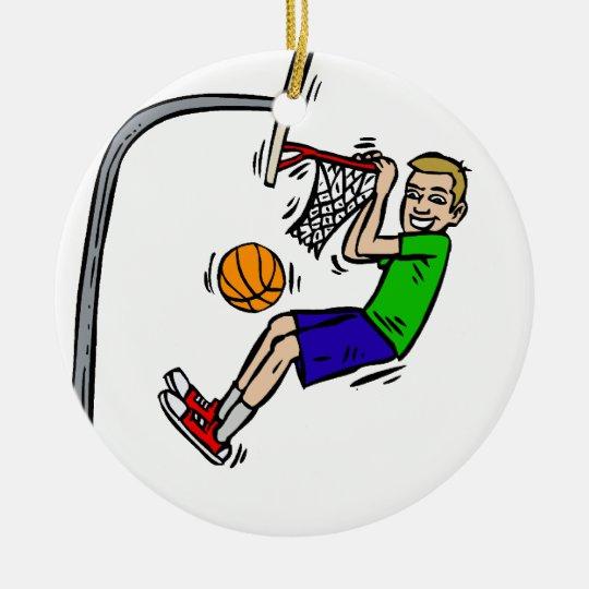 Hang from the rim slam dunk ceramic ornament