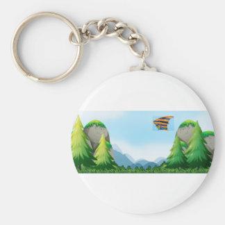 Hang gliding basic round button keychain