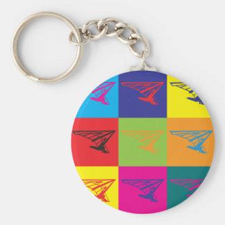 Hang Gliding Pop Art Basic Round Button Keychain