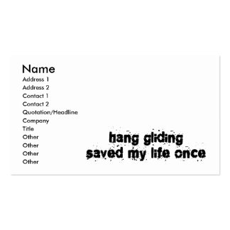 Hang Gliding Saved My Life Once Business Card Template