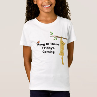 Hang In There Friday's Coming Cat Hanging In Tree T-Shirt