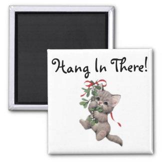 Hang In There Mistletoe Kitten Magnets