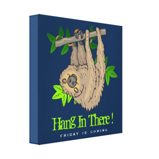 Hang in there Sloth on a Tree Branch Canvas Print